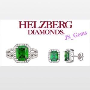 New Elegant Emerald & White Sapphire Set Fema Acce